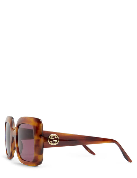 Unisex Gucci Eyewear Square Havana Sunglasses in Brown - GG0896S004