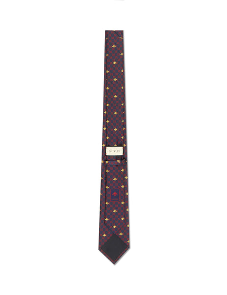 Gucci Men's Navy GG Bees Silk Tie 5450784E0024174
