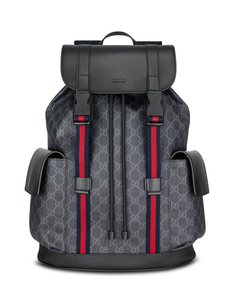 Men's Black Gucci GG Backpack with Blue and Red Web 495563 K9R8X 1071