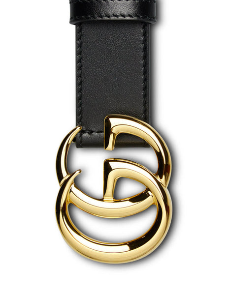 Men's Black and Gold Gucci GG Marmont Leather Belt 414516 0Y0AG 1000