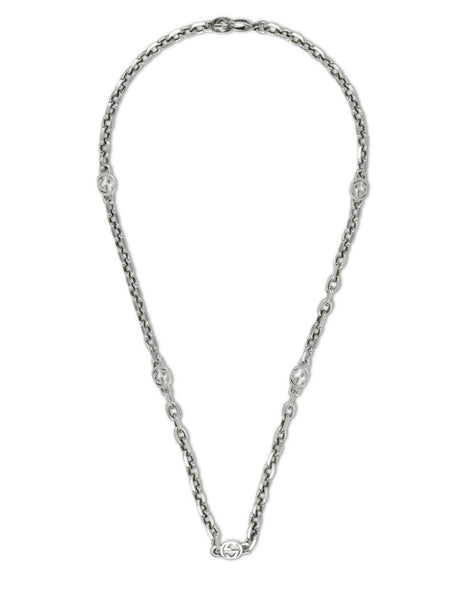 Gucci Men's Silver Interlocking G 60cm Necklace YBB616941001