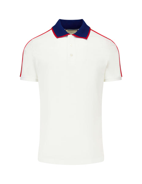 Gucci Men's White Jacquard Stripe Polo Shirt 500972 X9M38 9979