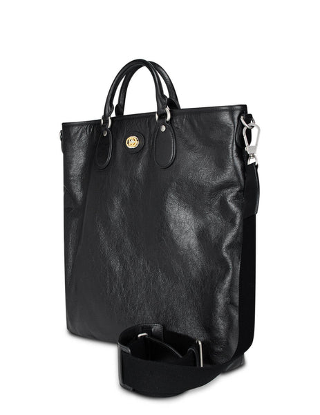 Gucci Men's Giulio Fashion Black Soft Leather Tote Bag 5758211GZAX1000