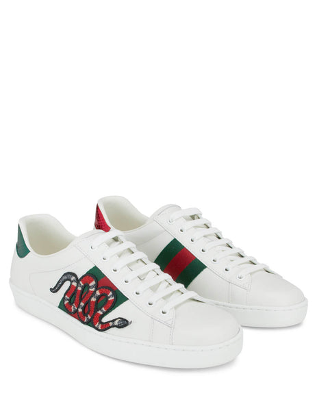 Men's Gucci Ace Embroidered Sneakers in White Leather 456230 A38G0 9064