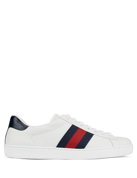 Men's White, Blue and Red Gucci Ace Leather Sneakers 386750A38D09072