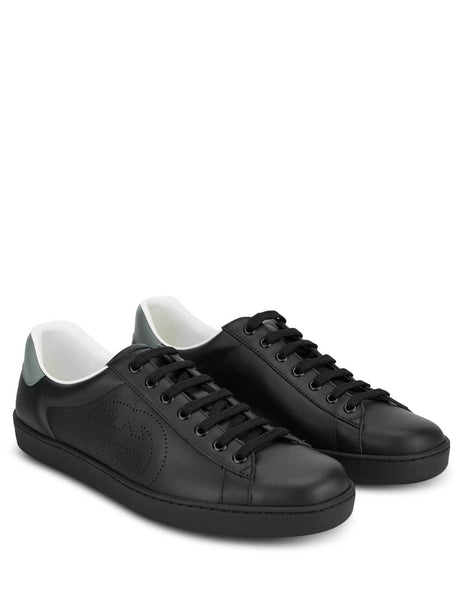 Men's Gucci Ace  Leather Sneakers in Black. 599147AYO701069