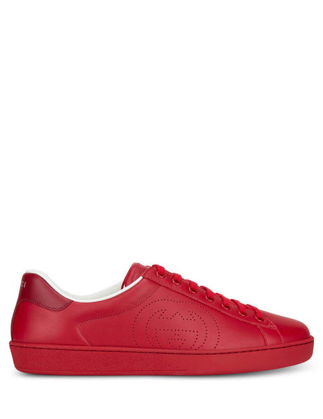 Men's Gucci Ace Leather Sneakers in Hibiscus Red. 599147AYO706463