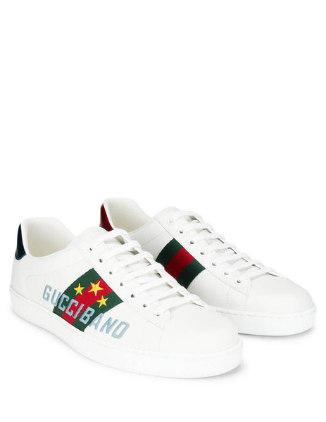 Gucci Men's White Gucci Band Ace Sneakers 6036930fi109069