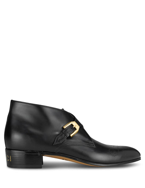 Men's Gucci Buckle Detail Boots in Black Leather 596921 06F00 1000
