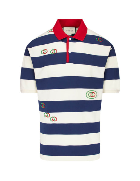 Gucci Men's Giulio Fashion Navy Embroidered Jersey Polo 581976XJA6H4594