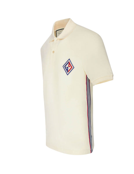 Gucci Men's Cream Embroidered Patch Polo Shirt 564651Xjaym9247