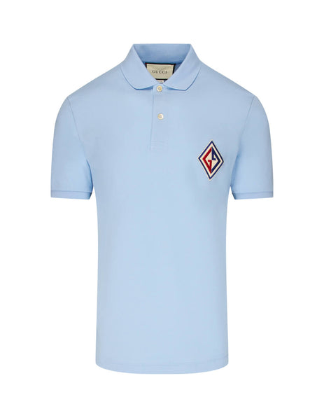 Gucci Men's Light Blue Embroidered Patch Polo Shirt 564651Xjaym4597