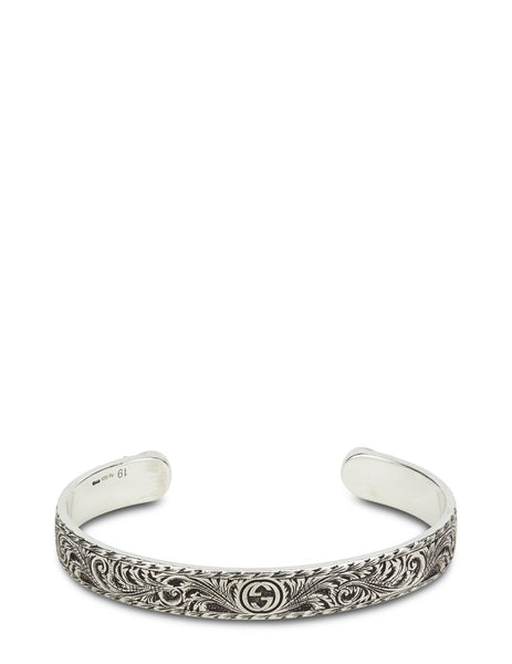 Gucci Men's Aged Silver Feline Garden Bangle YBA433575001