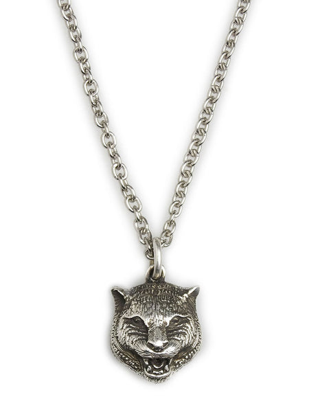 Men's Gucci Feline Head Necklace in Aged Silver - YBB433608001