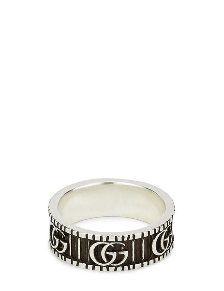 Gucci Men's Aged Silver GG Marmont Ring YBC551899001