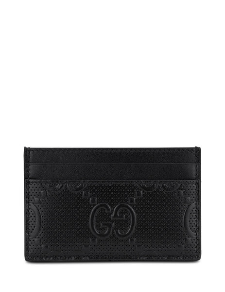 Gucci Men's Black GG Embossed Card Case 625564 1W3AN 1000