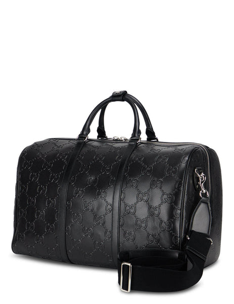 Gucci Men's Black GG Embossed Duffle Bag 625768 1W3CN 1000