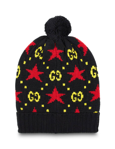 Gucci Men's Black GG Red Star Hat 5744564G206107
