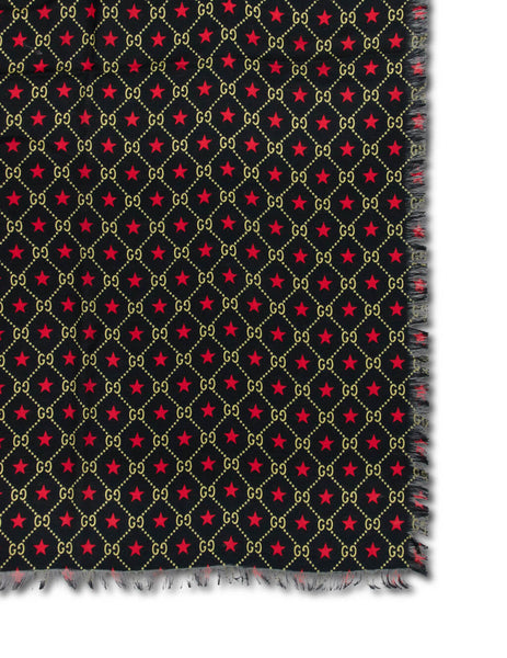 Gucci Men's Giulio Fashion Black/Red/Yellow GG Star Print Shawl 5824094G3641075