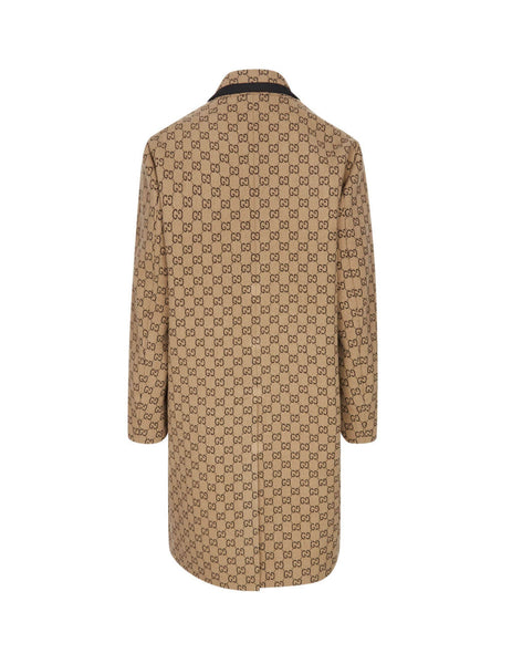 Gucci Men's Giulio Fashion Beige GG Wool Coat 598710 Z8AF1 9702