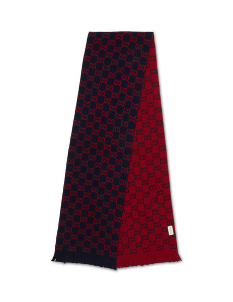 Gucci Men's Red and Midnight Blue GG Wool Scarf 6009474G2064074