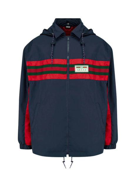 Gucci Men's Giulio Fashion Blue and Red Gucci Label Jacket 599935XDA2J4206