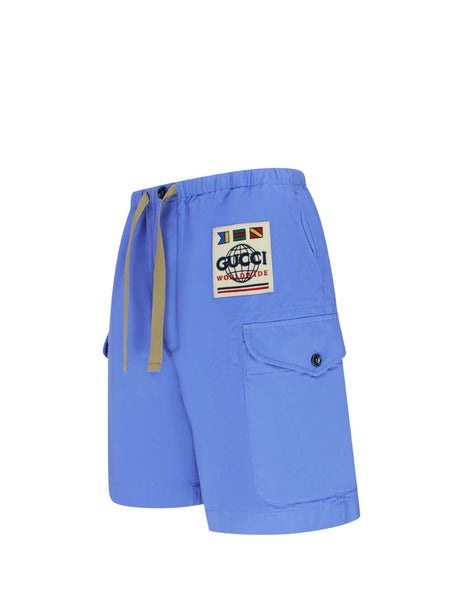 Men's Parlour Blue Gucci Worldwide Shorts 598636 ZADBP 4907