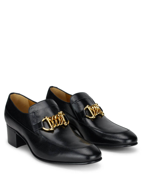 Gucci Men's Black Leather Horsebit Chain Loafers 585860d3v001000