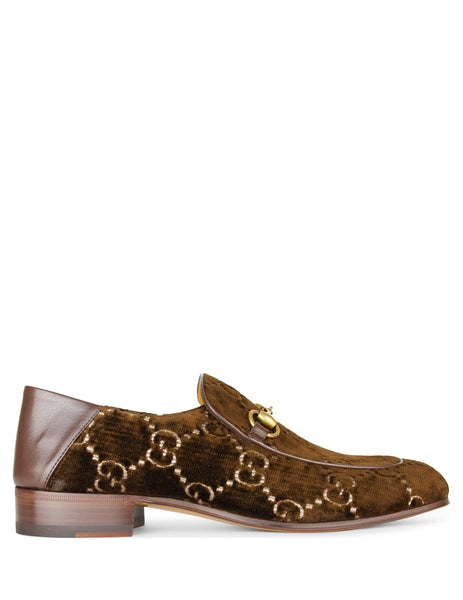 Gucci Men's Giulio Fashion Brown Vintage Horsebit GG Velvet Loafers 5262989JT802093