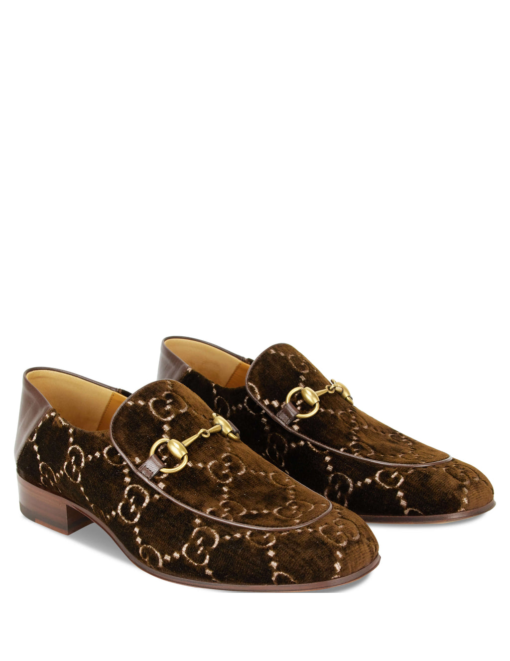 Gucci Men's Horsebit GG Velvet Loafers Brown 5262989JT802093