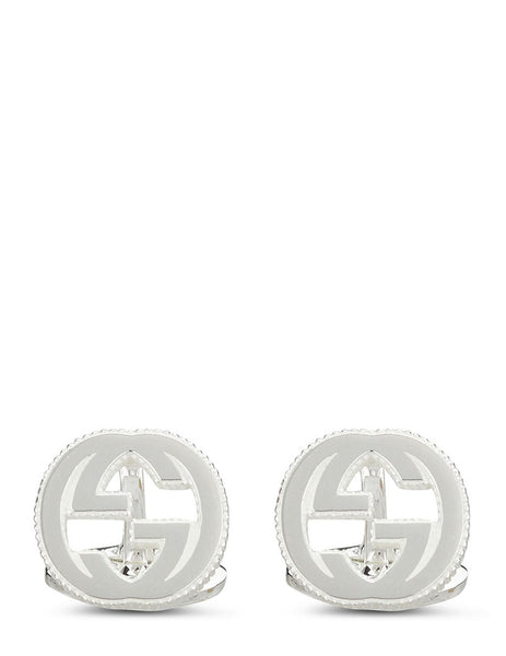 Gucci Men's Aged Silver Interlocking G Cufflinks YBE499010001