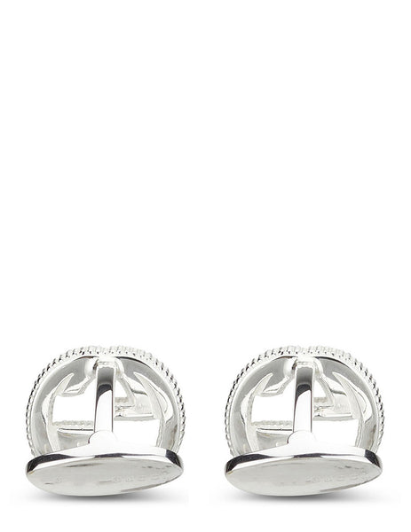 Men's Gucci Interlocking G Cufflinks in Aged Silver - YBE499010001