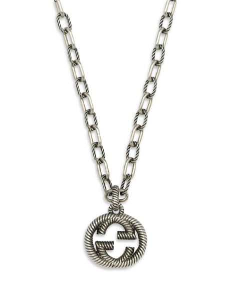 Gucci Men's Giulio Fashion Aged Silver Interlocking G Necklace 604156 J8400 0811