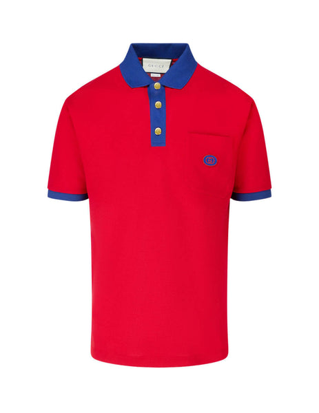 Gucci Men's Red Interlocking G Patch Polo Shirt 625323 XJCNZ 6140