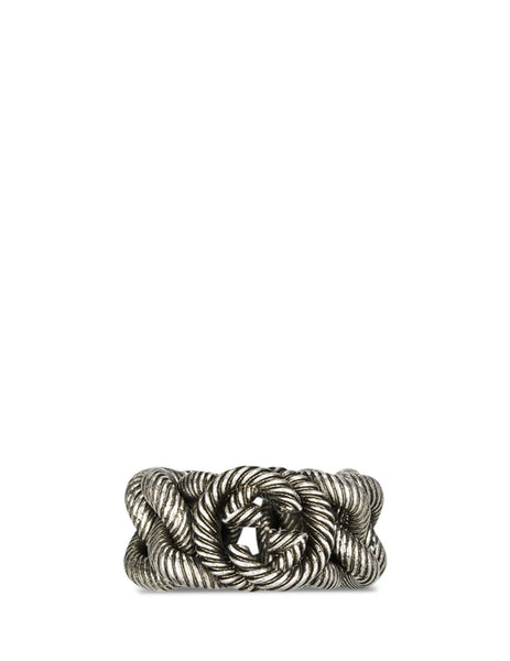 Gucci Men's Giulio Fashion Aged Silver Interlocking G Ring 599740