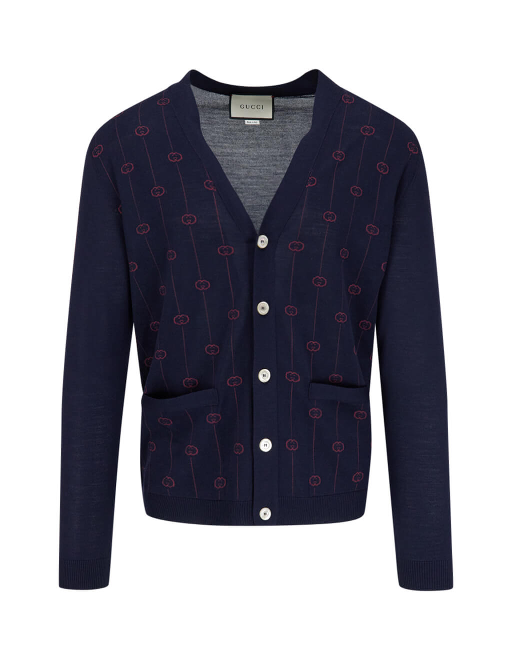 Men's Gucci Jacquard GG Cardigan in Ink Blue 576901 XKAUM 4542