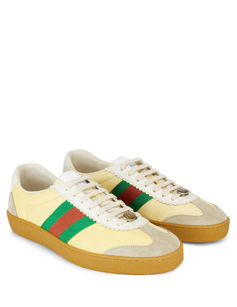 Gucci Men's Giulio Fashion Butter/White/Oatmeal Leather and Suede Web Sneakers 5216810PV209560