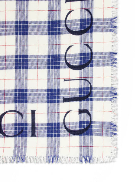 Gucci Men's Giulio Fashion Bluette/Ivory Logo Print Check Shawl 5755924G2004878