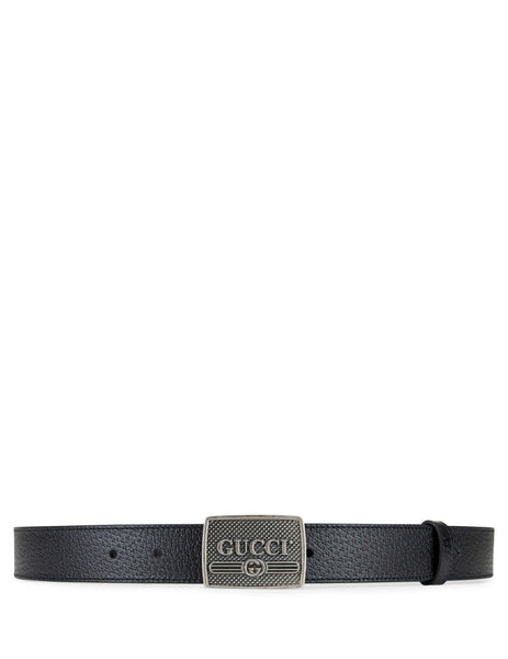 Gucci Men's Giulio Fashion Black Leather Belt With Logo Buckle 52331DJ20N1000