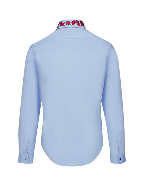 Gucci Men's Baby Blue Oxford Duke Shirt with Kingsnake Print 433550z38984850