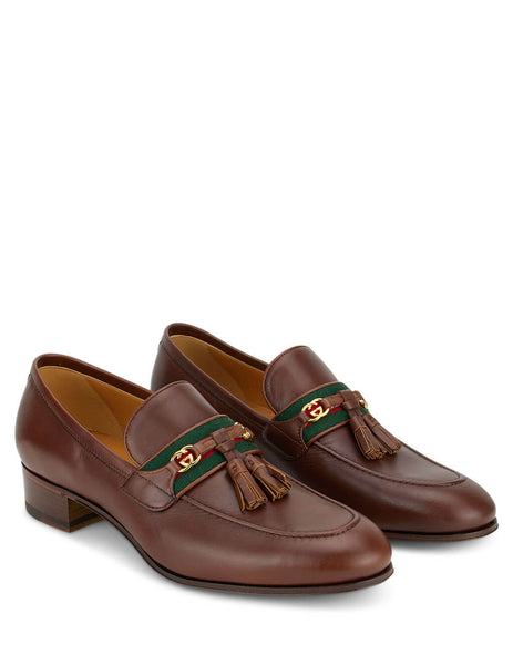 Men's Gucci Paride Leather Loafers in Brown. 6247201W6102260