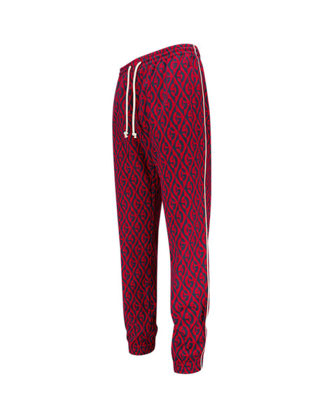 Gucci Men's Giulio Fashion Blue/Red Rhombus Jacquard Sweatpants 598913XJB0K4110