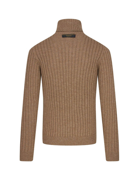 Gucci Men's Camel Rib-Knit Jumper  626086 XKBE7 2602