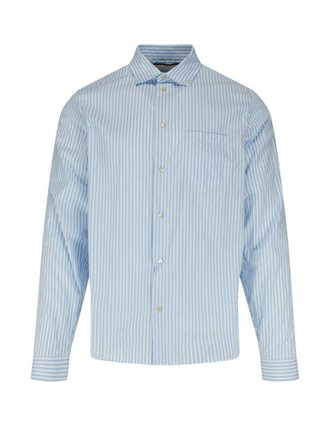 Gucci White and Blue Striped College Shirt 596841ZLC109033