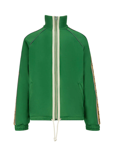 Gucci Men's Clover Green Technical Jersey Jacket 598861xjbz83072