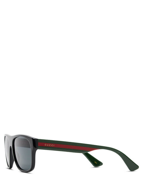 Men's Gucci Eyewear Web Stripe Sunglasses in Grey. GG0341S-001