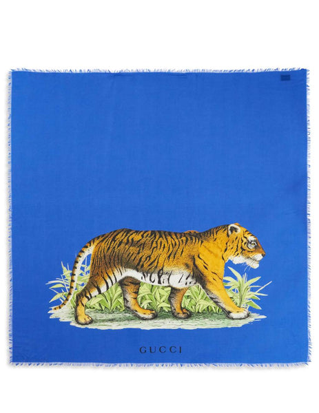 Gucci Men's Giulio Fashion Tiger Modal Silk Shawl Blue 4553234G8654800