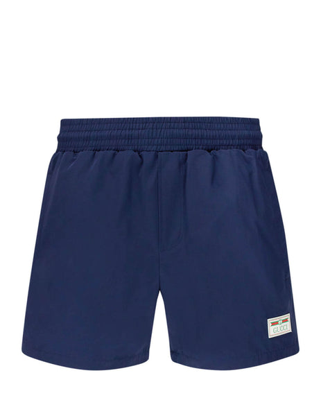 Men's Gucci Web Swim Shorts in Blue 599585 XHAB7 4728