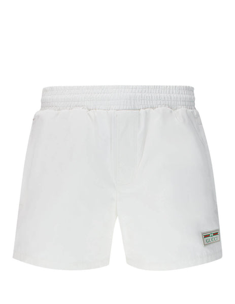 Men's Gucci Web Swim Shorts in White 599585 XHAB7 9060