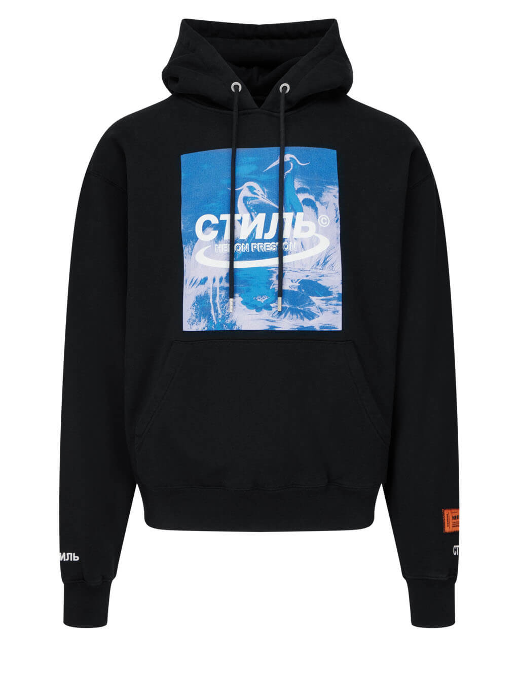 Men's Heron Preston Halo Herons Hoodie in Black/Blue - HMBB015R21JER0011049